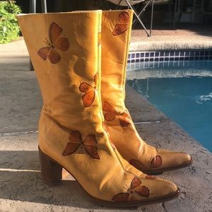 Tan Butterfly Embossed Boots Made in Italy